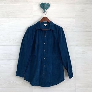 J Jill Corduroy Teal Blue Button Down Casual Top
